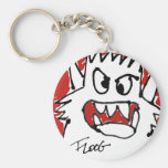 Red Cartoon Monster Basic Round Button Key Ring