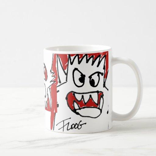 Red Cartoon Monster Basic White Mug