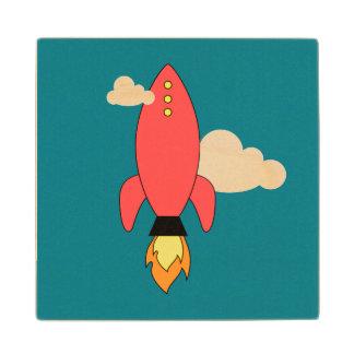 Red cartoon rocket wood coaster