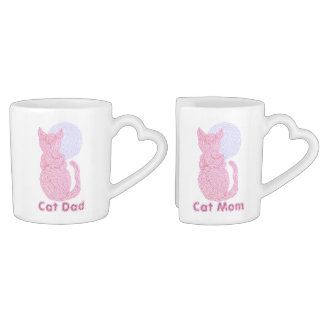 Red Cat And The Moon Cat Mom & Dad Nesting Mugs Couples Mug