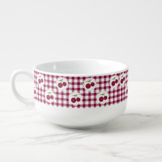 Red Checkered Cherries Soup Mug
