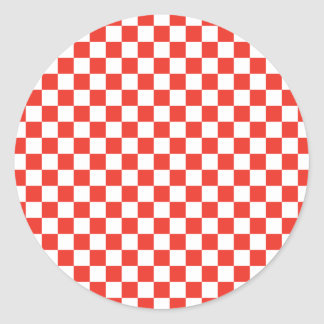 Red Chequerboard Classic Round Sticker