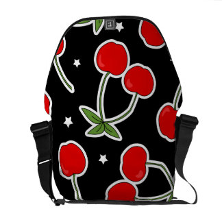 Red Cherries and Stars Pattern Commuter Bag