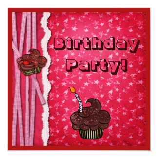 Red Cherries & Chocolate Cupcakes Party Invites
