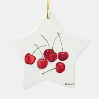 Red cherries fruit ceramic star decoration