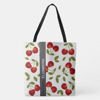 Red cherries fruit patterns tote bag