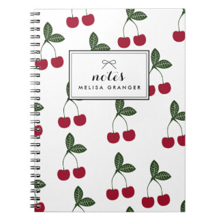 Red Cherries Pattern Personalized Notebook