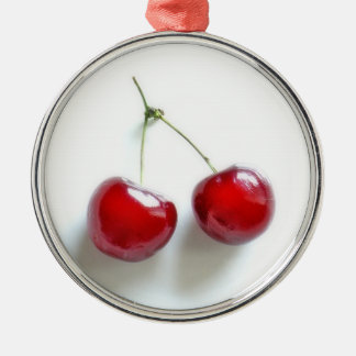 Red Cherries Silver-Colored Round Decoration