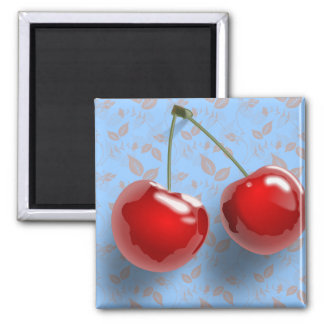 Red Cherries Square Magnet