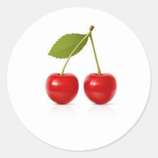 Red Cherries Round Sticker