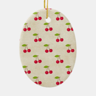 Red Cherries Tiny Cherry Print Rustic Vintage Christmas Ornament