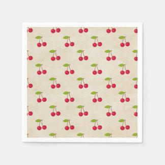 Red Cherries Tiny Cherry Print Rustic Vintage Disposable Napkin