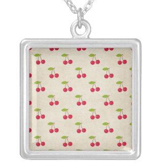 Red Cherries Tiny Cherry Print Rustic Vintage Necklaces