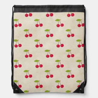 Red Cherries Tiny Cherry Print Rustic Vintage Drawstring Bags