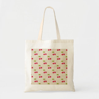 Red Cherries Tiny Cherry Print Rustic Vintage Budget Tote Bag