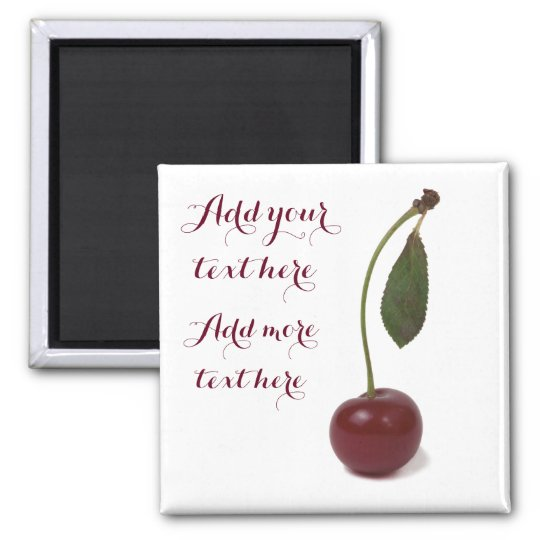 Red cherry berry and your text square magnet