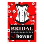 Red Cherry Blossom Bridal Shower Corset Invitation