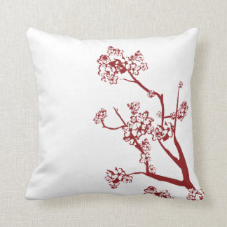 Red Cherry Blossom Pillow Throw Pillows