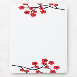 Red Cherry Blossoms Mousepad
