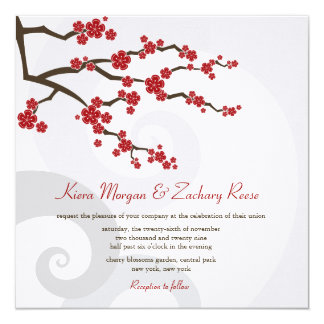 "Red Cherry Blossoms Sakura Swirls Wedding Invite 5.25"" Square Invitation Card"