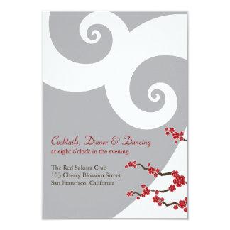Red Cherry Blossoms Sakura Swirls Wedding Receptio 3.5x5 Paper Invitation Card