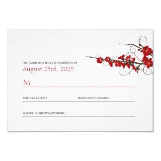 Red Cherry Blossoms Sakura Swirls Wedding RSVP 9 Cm X 13 Cm Invitation Card