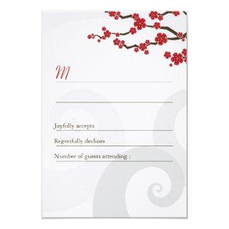 Red Cherry Blossoms Sakura Swirls Wedding RSVP 3.5x5 Paper Invitation Card