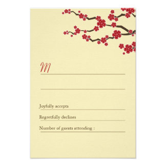 Red Cherry Blossoms Sakura Swirls Wedding RSVP Personalized Invite