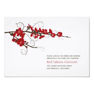 Red Cherry Blossoms Sakura Wedding Reception 9 Cm X 13 Cm Invitation Card