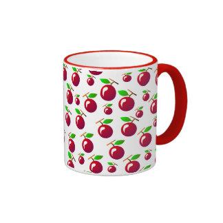 Red Cherry Fruit Pattern Ringer Coffee Mug