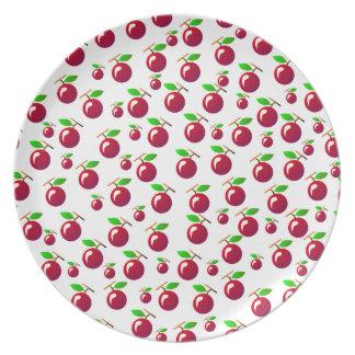 Red Cherry Fruit Pattern Dinner Plates