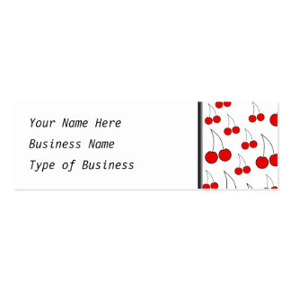 Red Cherry Pattern. Double-Sided Mini Business Cards (Pack Of 20)