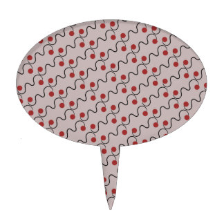 Red Cherry Pattern Cake Toppers