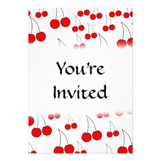 Red Cherry Pattern Personalized Invite