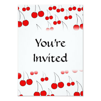 Red Cherry Pattern. Personalized Invite