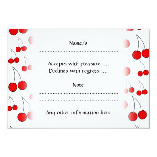Red Cherry Pattern. Personalized Invitation