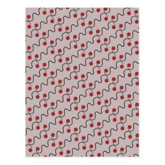 Red Cherry Pattern Postcard