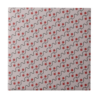 Red Cherry Pattern Small Square Tile