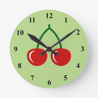 Red cherry wall clock for kitchen