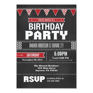 Red Chevron Chalkboard Birthday Invitation