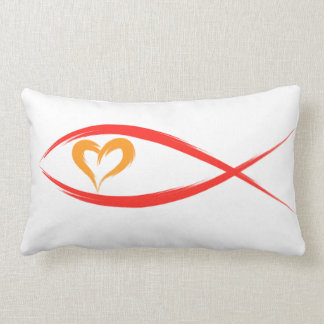 Red Christian Fish with Orange Heart Pillow Cushions