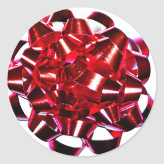 Red Christmas Bow Round Sticker