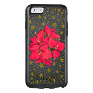 Red Christmas flower and sparkly gold stars OtterBox iPhone 6/6s Case