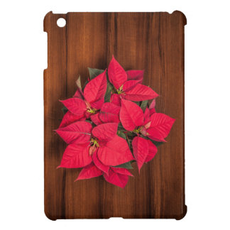 Red Christmas flower on brown wood iPad Mini Case