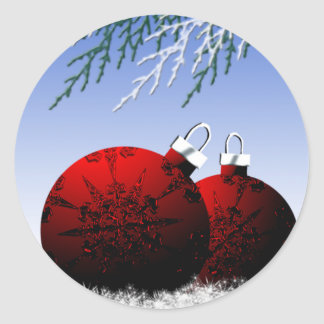 Red Christmas Ornaments Holiday Envelope Seal Xmas Round Sticker