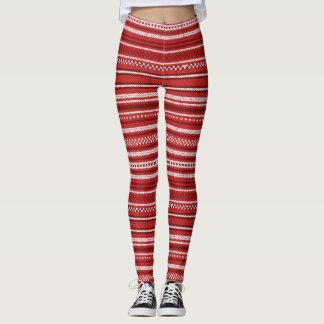 Red Christmas Sweater Stripes Leggings