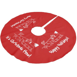 Red Christmas tree skirt with Santa sleigh ride