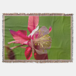 Red Columbine Flower Throw Blanket