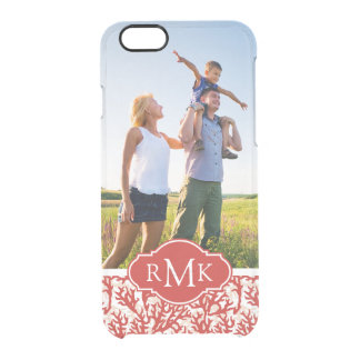 Red Coral Pattern | Your Photo & Monogram Clear iPhone 6/6S Case