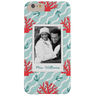Red Coral Pattern | Your Photo & Name Barely There iPhone 6 Plus Case